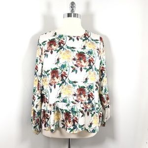Just Fab 2X floral popover cream flowy